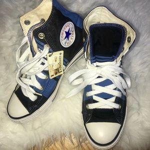 Converse - Navy Blue | Aqua Stripe High Top